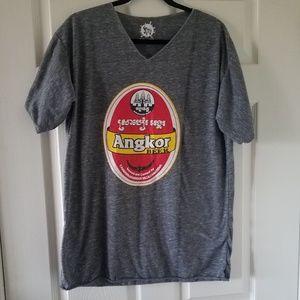 Rare XL Angkor Beer Cambodia V-neck T-shirt
